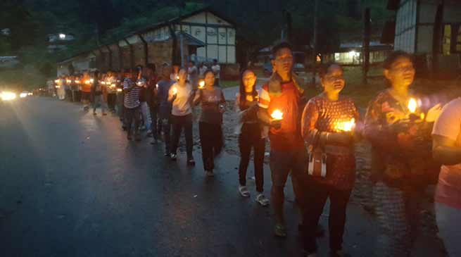 Bhalukpong: Candle March for Late Toko Yame