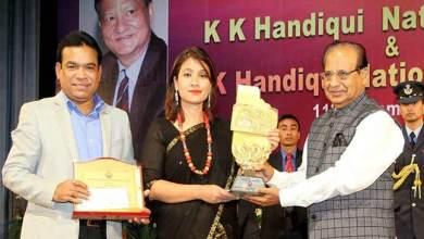 Photo of Anshu Jamsenpa conferred KK Handiqui National Fellowship Award