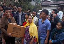 Photo of Itanagar: Jalley Sonam distributes relief materials to the fire victims