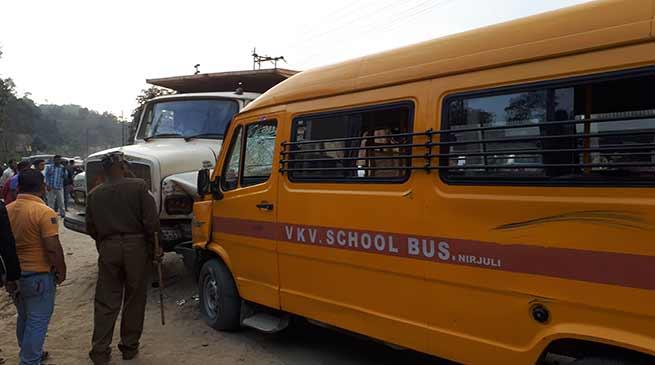 Arunachal:School Van collided, 3 school children injured