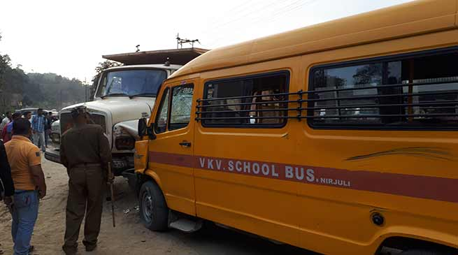 Arunachal: School Van collided, 3 school children injured