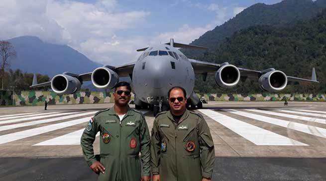 Arunachal : IAF C-17 Globemaster Landed at Tuting Airfield