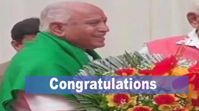 Arunachal CM congratulates B S Yeddyurappa