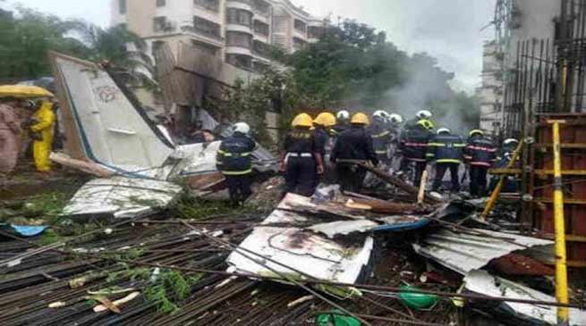 Mumbai- Charted plane crashes in Ghatkopar, 5 dead