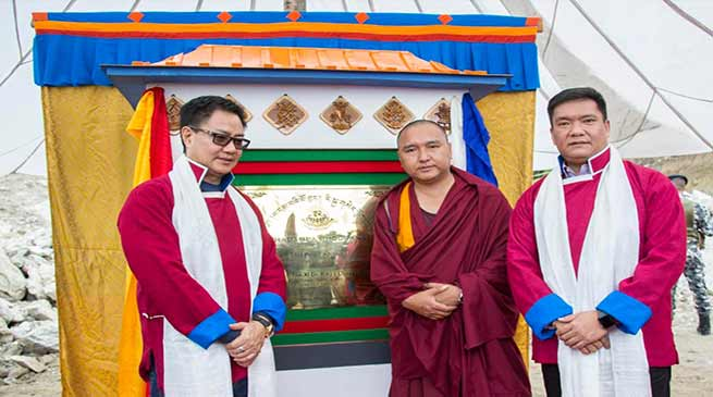 Arunachal: Khandu lays foundation stone for Phadampa Phodrang in Lhou village