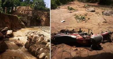 Itanagar : Heavy rain damaged land protection wall, washes away two wheelers at Modirijo colony