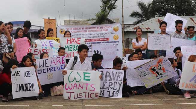 Itanagar: Students protest, demand Re-consideration of scholarship forms