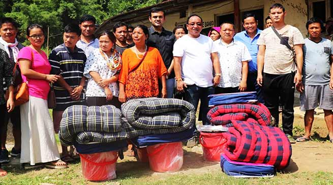Itanagar : Kaso, Dhawan distributes Relief materials to Landslide, Flash flood victims