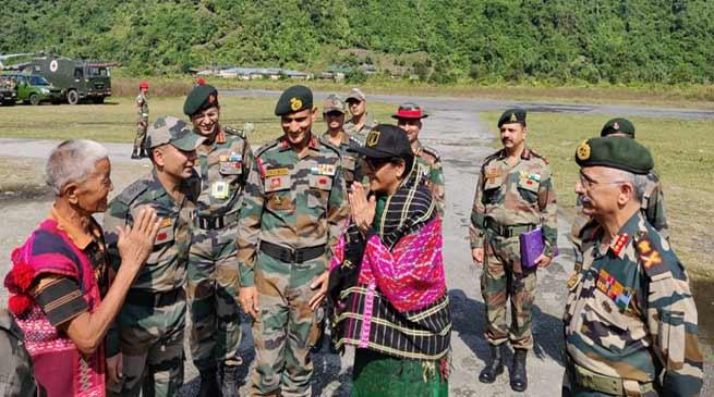 Union Defence Minister Nirmala Sitharaman visits Forward postsALONG
