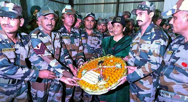 Union Defence Minister Nirmala Sitharaman visits Forward posts ALONG