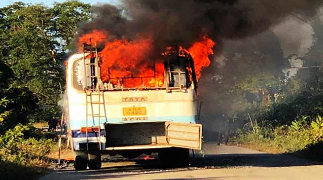 Arunachal: APST bus catches fire allegedly due to short circuit, no casualties reported