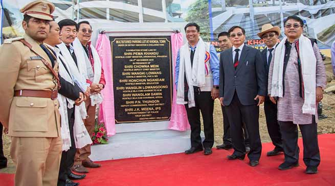 Arunachal Rising: Khandu reaches Khonsa, lays foundation stone of Multistory Parking