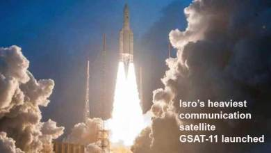 Photo of Isro's heaviest communication satellite GSAT-11 launched