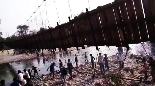 Assam: Hanging Bridge over Paso river Collapse, 25 Injured