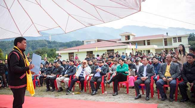 Arunachal: Khandu visits under construction building of VKV school at Ramsing village