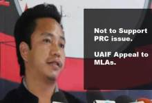 Itanagar: UAIF appeal MLAs, not to support PRC