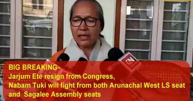 Arunachal:  Jarjum Ete quit congress, but will contest election from Arunachal West