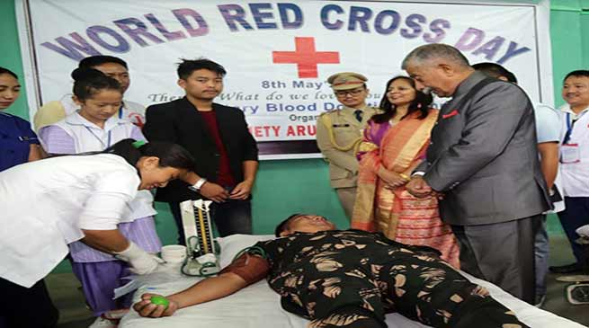Arunachal: Enthused by the Governor, 103 donated blood