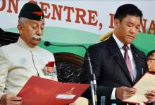 Photo of Pema Khandu sworn-in as the Chief Minister of Arunachal Pradesh