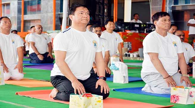 International Yoga Day: Arunachal CM, Ministers, legislatures, officers join Yoga session