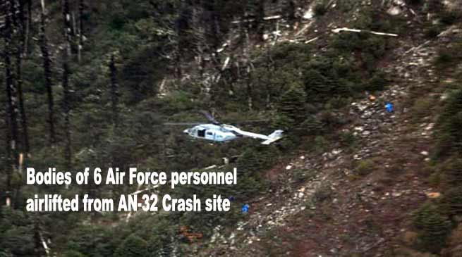 Arunachal: Bodies of 6 Air Force personnel airlifted from AN-32 Crash site