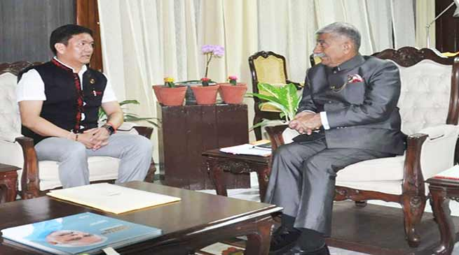 Arunachal CM Pema Khandu calls on Governor B D Mishra
