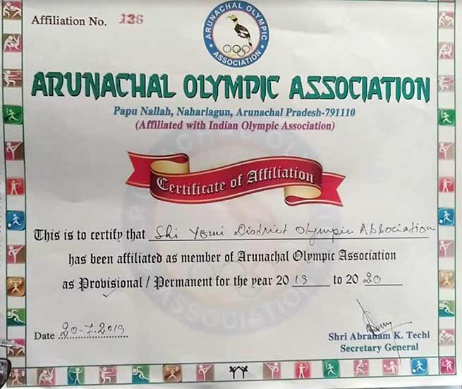 Arunachal: SYDOA gets affiliation from AOA