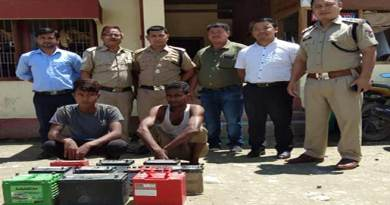 Arunachal: Two arrested for Car Batteries theft