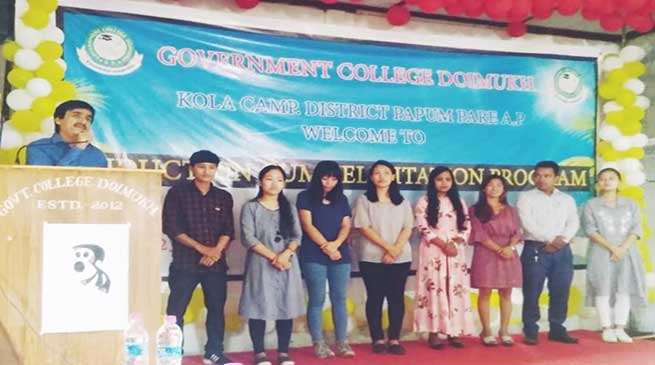 Govt College Doimukh conducts Induction cum Felicitation Programme