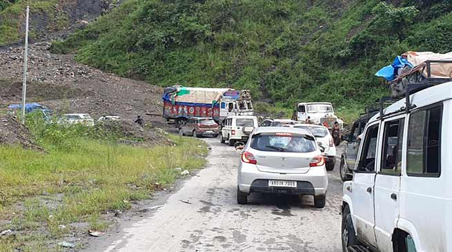 A highway where people facing landslides, traffic jam everyday