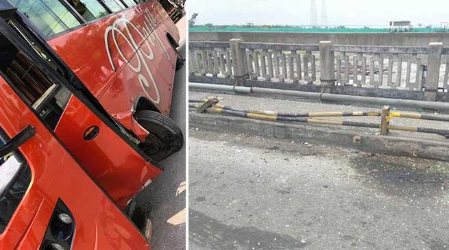 Arunachal: Bus hits footpath pillar over Kalia Bhomora Bridge, Passengers are safe