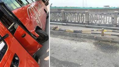 Photo of Arunachal: Bus hits footpath pillar over Kalia Bhomora Bridge, Passengers are safe