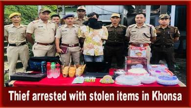 Photo of Arunachal: Thief arrested with stolen items in Khonsa