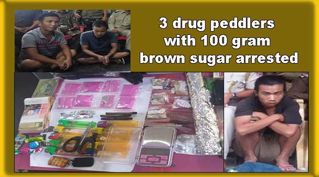 Arunachal: 3 drug peddlers with 100 gram brown sugar arrested by Roing Police