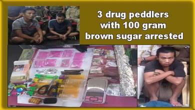 Photo of Arunachal: 3 drug peddlers with 100 gram brown sugar arrested by Roing Police