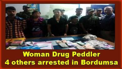 Photo of Arunachal: Woman Drug Peddler, 4 others arrested in Bordumsa