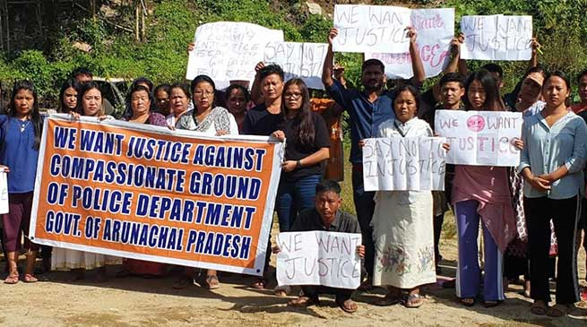 Itanagar: 72-hour dharna by Victim candidate of police compensate- second day