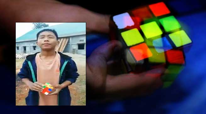 Arunachal boy solves Rubik's cube with closed eyes. Video goes Viral in twitter