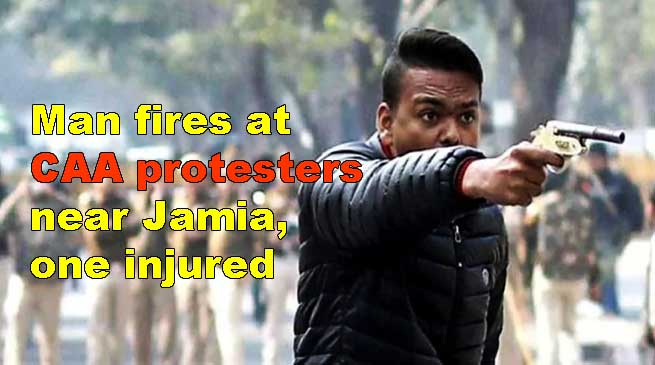 Man fires at CAA protesters near Jamia, one injured