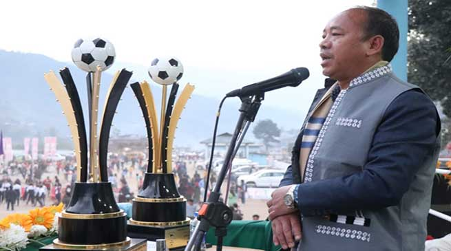 Mama Natung launches 4th State Level Hangpan Dada Memorial Football and Volleyball tournament