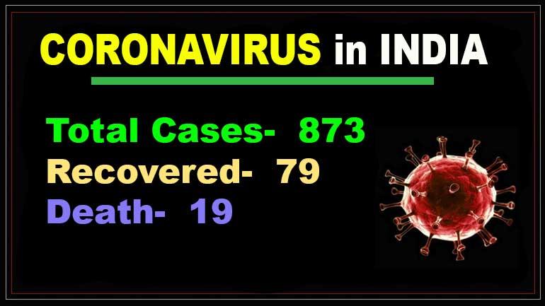 Coronavirus in India: 873 COVID-19 cases, 19 death