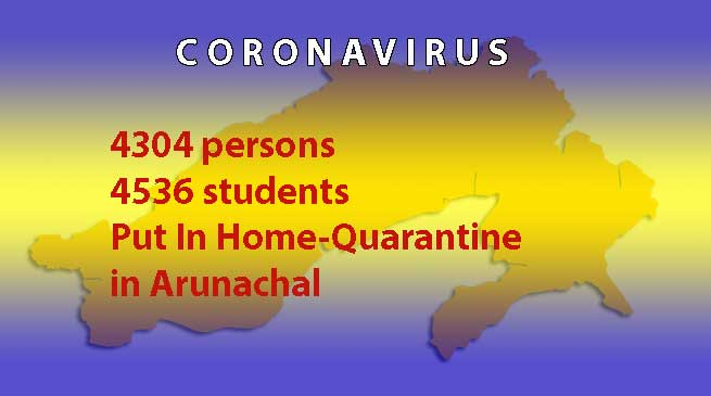 Coronavirus: 4304 persons, 4536 students Put In Home-Quarantine in Arunachal