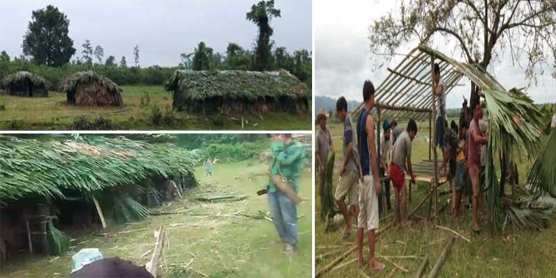 Arunachal: Villagers Build Quarantine Huts using Bamboo for Returnees