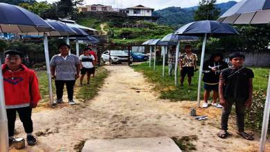 Photo of Arunachal: Locals place umbrellas in-front of SBI, Raga Branch to maintain Social Distancing