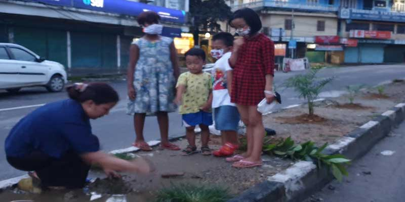 Itanagar: Woman planting sapplings by the road side is giving us a lesson