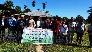 Arunachal: Friends of Eighties donates sausage wire mesh rolls & sand bags to flood affected Namsing village