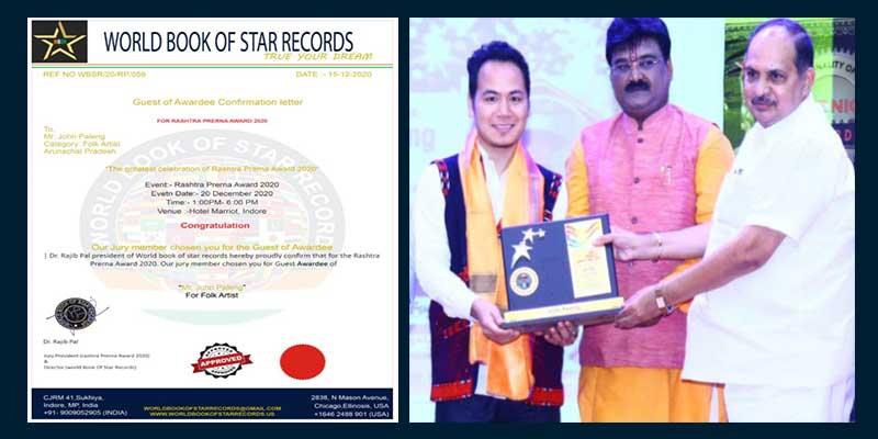 "Arunachal: John Paleng awarded with ""Rashtra Prerna Award 2020"""