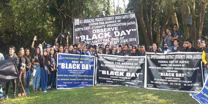Arunachal: AAPSU, NESO observed 'Black Day' against CAA