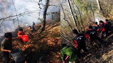 Arunachal: Wild fire engulfed major portion  of the forest below Old Lungla