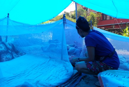8 families living outdoors in Tripal (makeshift tarp) shelters.